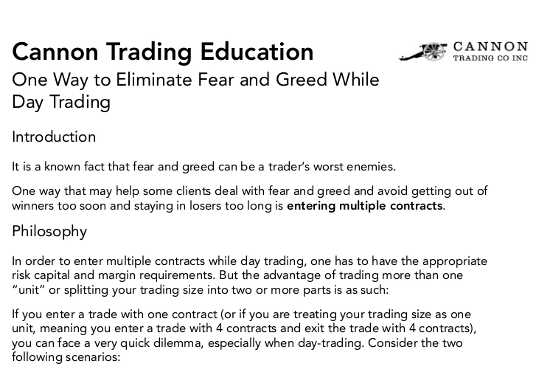 Cannon Trading Education: Eliminating Fear and Greed While Day Trading